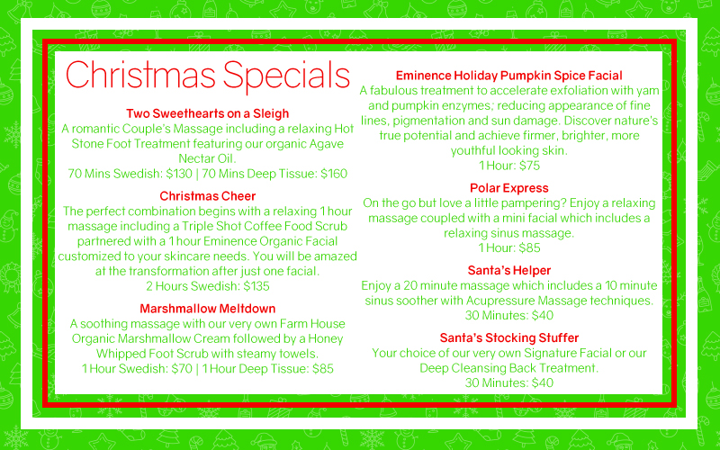 Christmas Spa Packages.Christmas Specials Healthy Touch Day Spa
